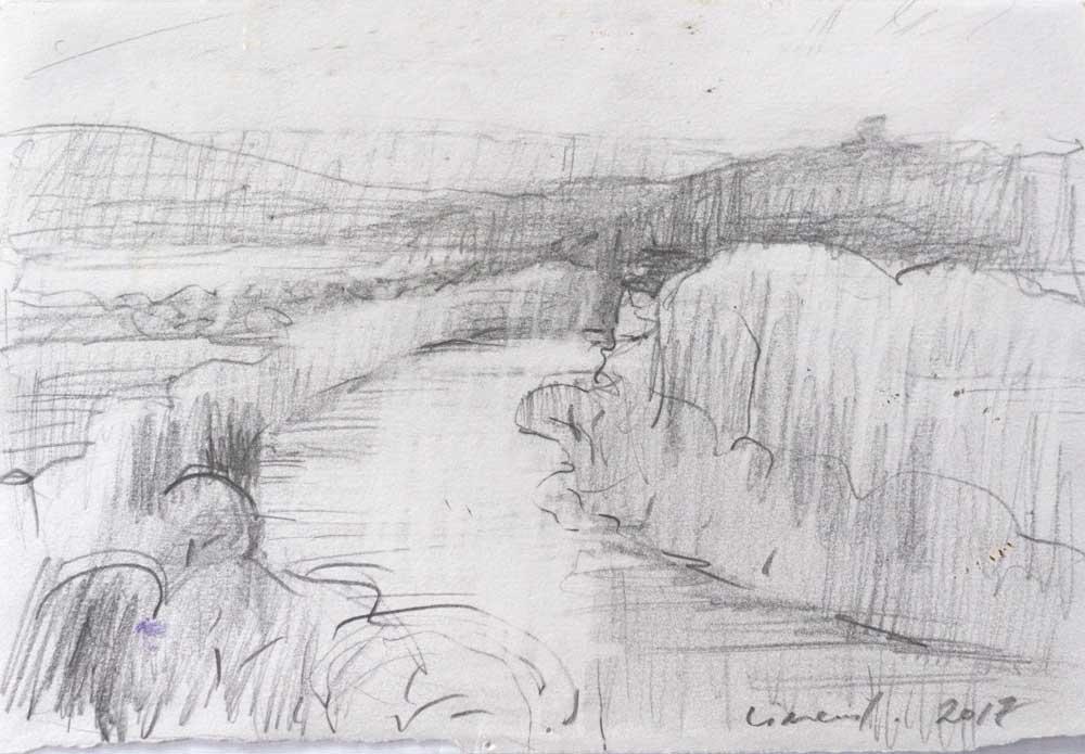 graphite, value study, landscape, drawing, river, silvery landscape,