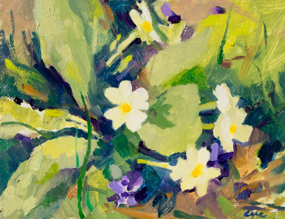 oil painting ,spring flowers primroses,primavere, plein air, flowers, natural arrangement,