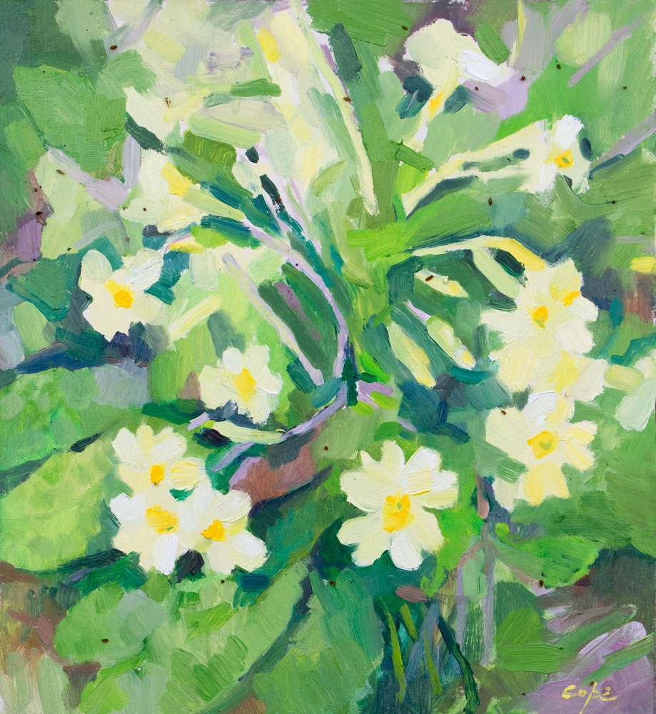 oil painting,spring flowers,primroses,primavere,contemporary botanica,