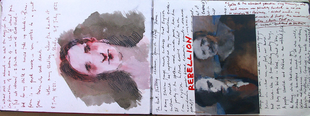 drawing,Mary Shelley, Keats Museum, anoted,rebellion,travel bookDouble spread,  Sketchbook