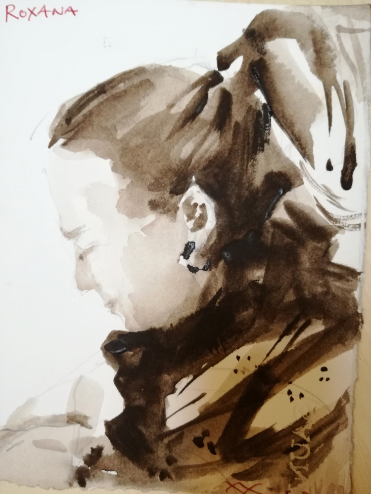 sepia portrait watercolour young spainish lady