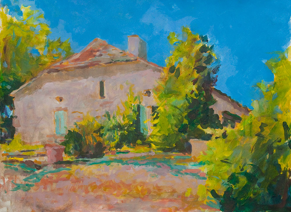 peinture acrylic, mas sud ouest, summerime, bright southern lkight, pleinair, alla prima