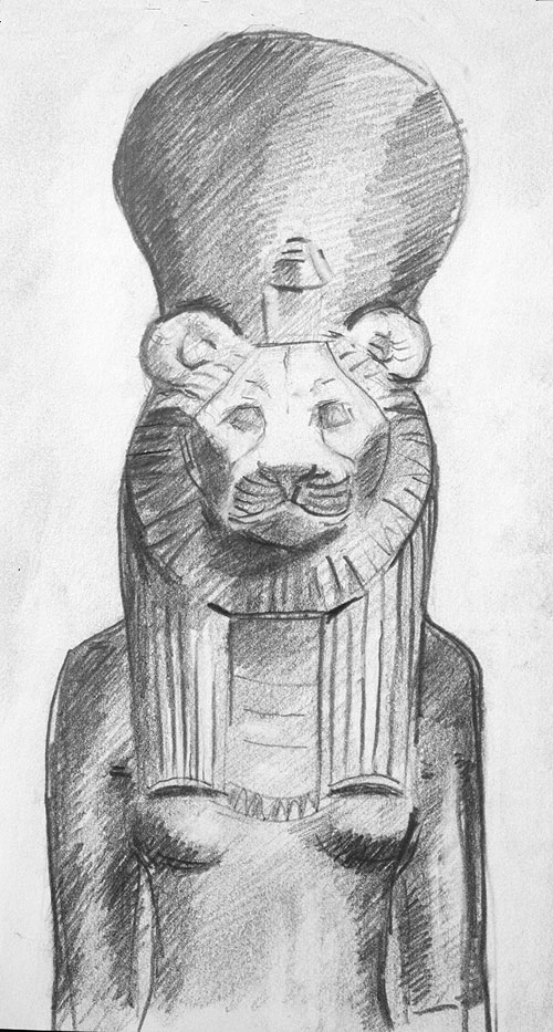 drawing,Sekhmet, Louvre, Graphite,sketchbook,egypt