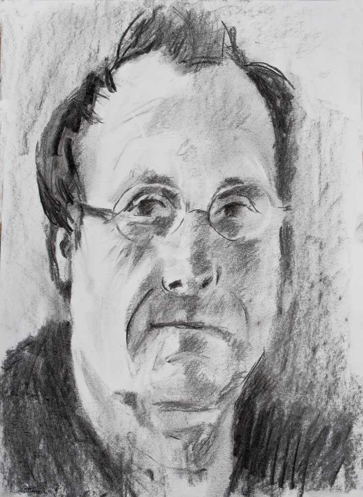 charcoal,portait of the artist, self portrait, glasses