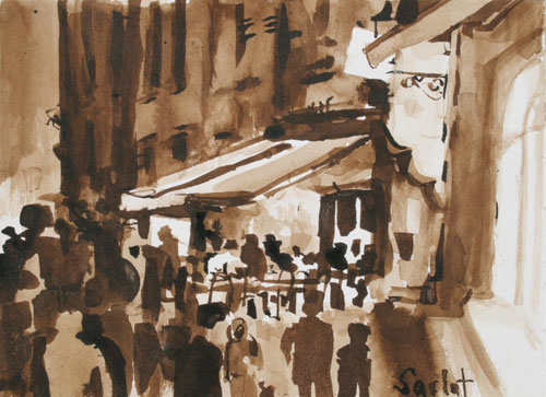 sepia,buildings,sarlat,shops,crowds,night scene