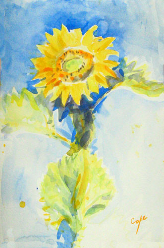 watercolour sunflower, joy, happy, non botanical, aquarelle