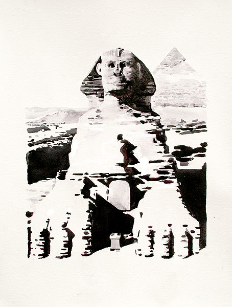 The Great Sphinx of Gaza,watercolour,notan,half tone,sepia