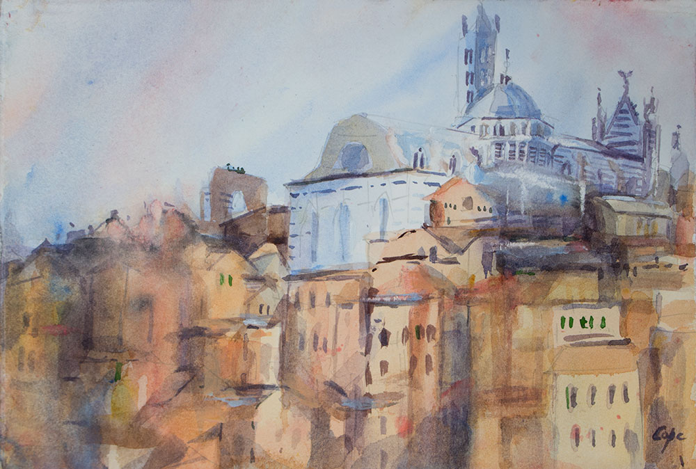 watercolour, siena, duomo,arc en ciel, liquid light, rainbow