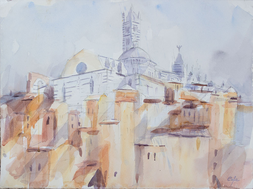 watercolour,Siena, Duomo St Catherine's Sancturary, fluid light,