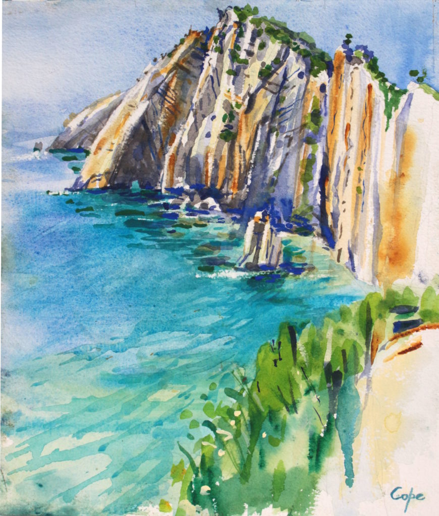 watercolour, asturias, playa, ocean, cliffs