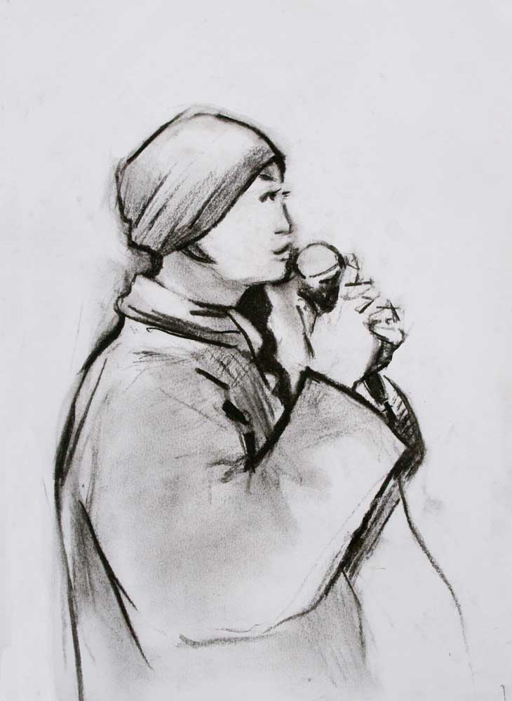 charcaol drawing, profile, microphone, buddhist nun, plum village,