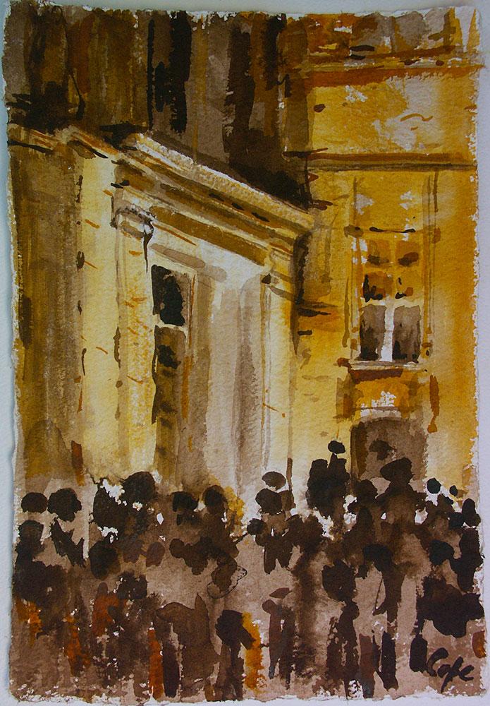 Spectacle, Place Peyrou,Sarlat,encre,dessin nuit,ruelle,dordogne