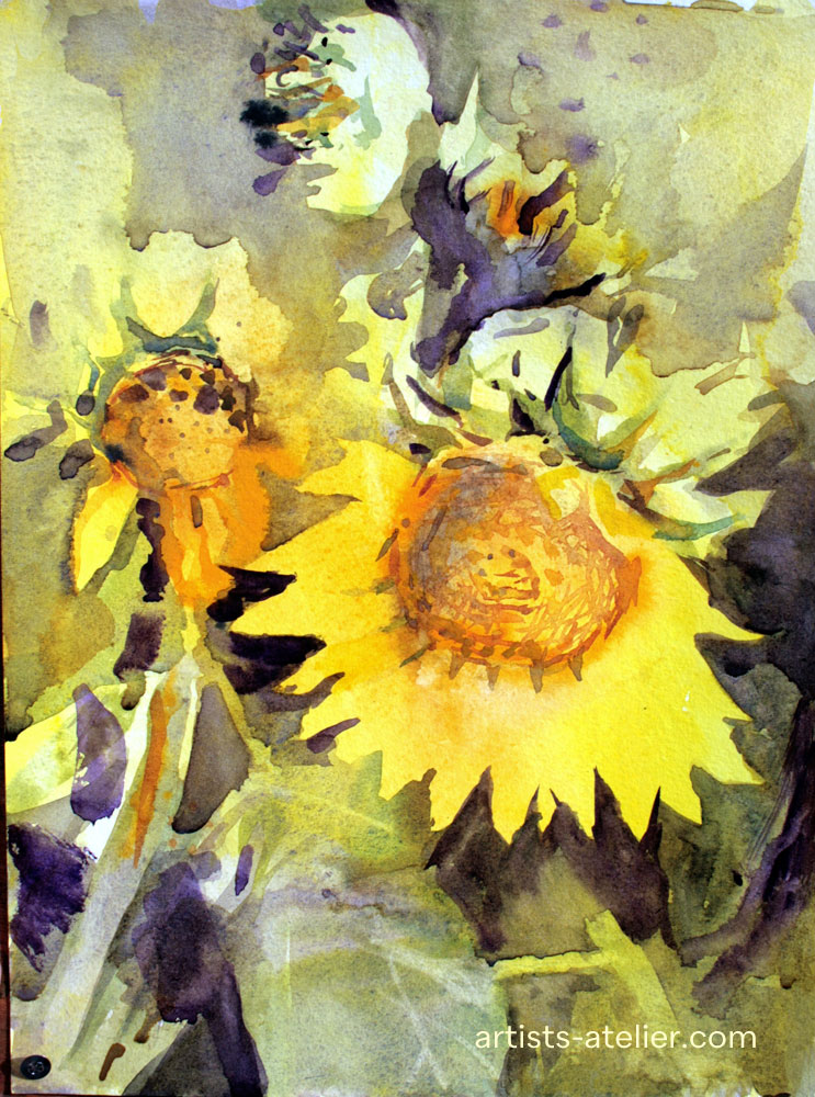 sunflowers,watercolour,wet on wet,colourful, loose, expressive, non botanical