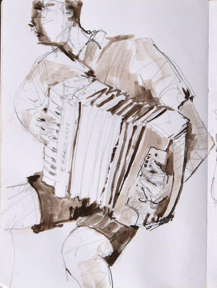 accordian player, musician, watercolour, pencil drawing,