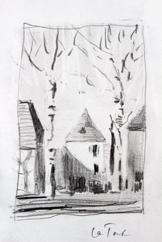 ntan, pencil study, values, quarter tones, architecture,trees, dordogne