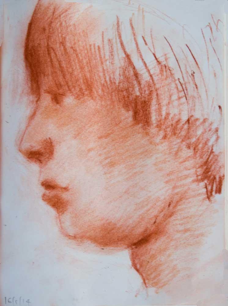 boy head, profile, sanguine, drawing, sfumato, portrait