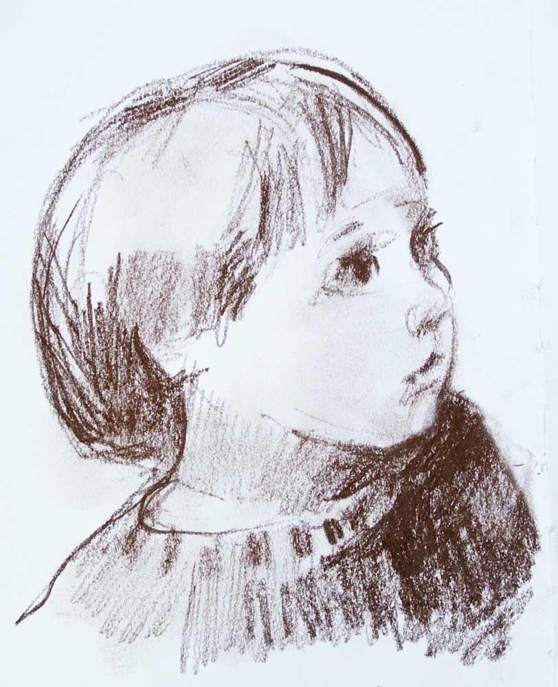 enfant, pastel, dessein, portrait,