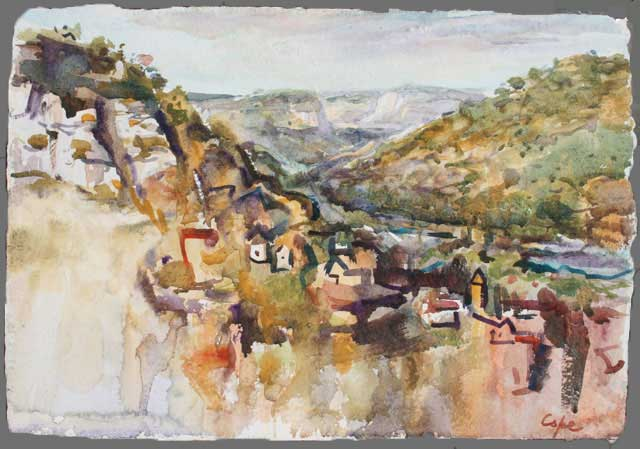 cele,aquarelle,lot, cliffs, view,france,watercolour,adam Cope