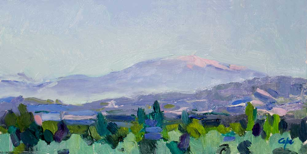 oil painting,mont ventoux,contemporary provence,semi abstract