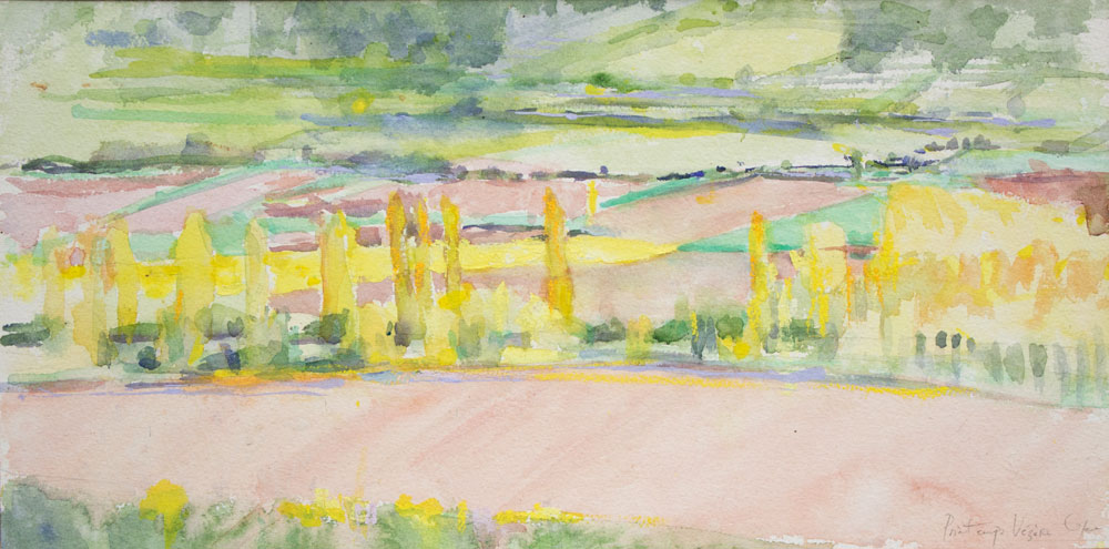 Vallée,Vézère,Printemps,ripsylve,peupliers,aquarelle,contemporaine, couleur