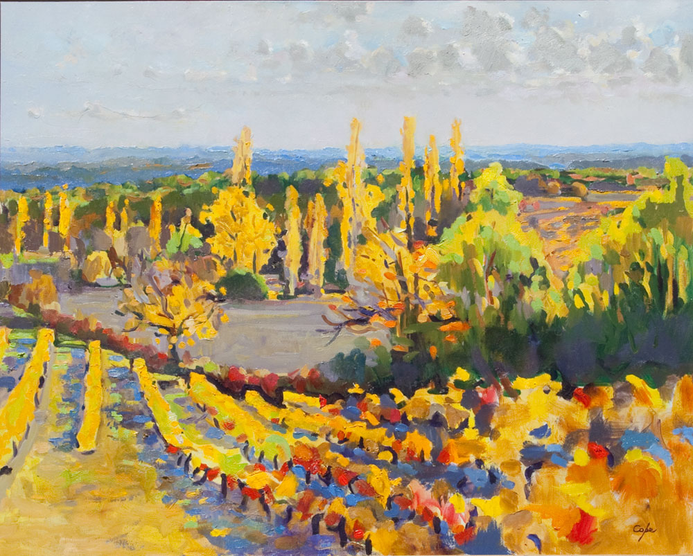 fauve,vignes, oil painting, pleinair, landscape, south west France,wine,art