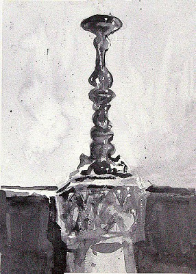 monochrome value study watercolour of a candle stick