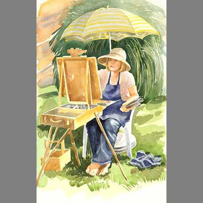 'Vivien painting' by Cathy . Watercolour from photograph.