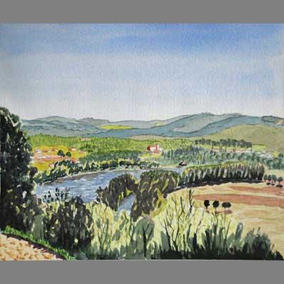 beginner watercolor of a landscape