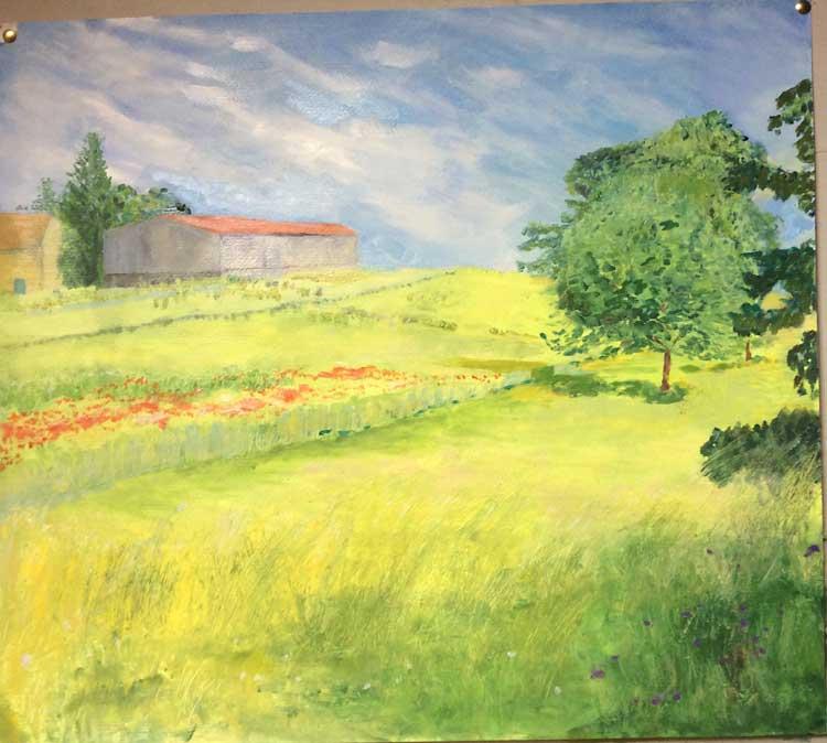 'Corn Fields' by Bobbie. Oil.