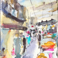 marché de Castillonnes Grand Rue aquarelle