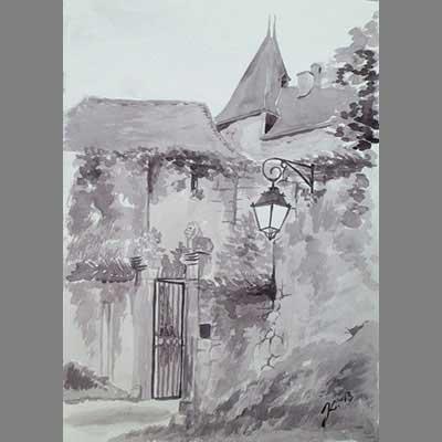 'Chateau de Béduer' by Jaana. sepia watercolour