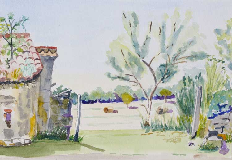 'Gate & Lizard at Beduer' by Chris. Watercolour.