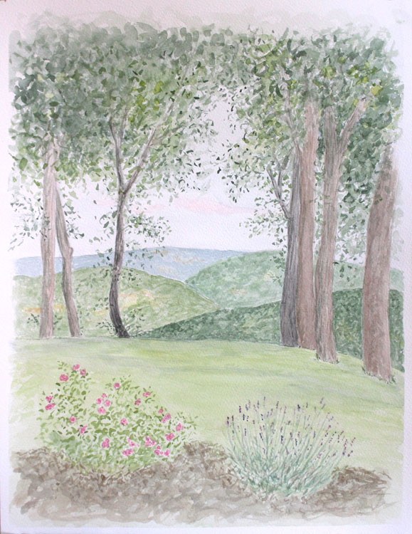 delicate leaves, watercolour