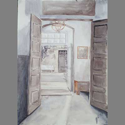grisaille chateau interior - watercolour