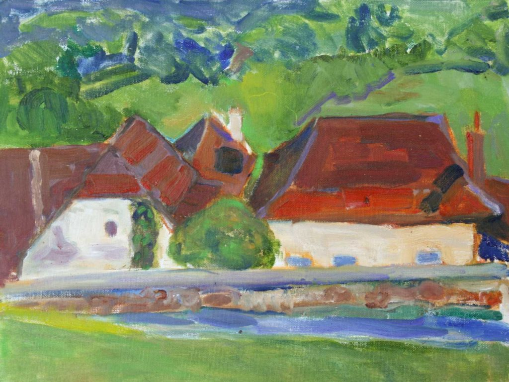 'Red Roof at Beduer' By Jan. Oil.