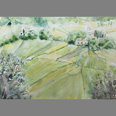 'The far fields' watercolor by Gabrielle