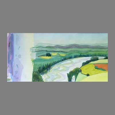 'River Dordogne' Colour patterns watercolour by Gillian.