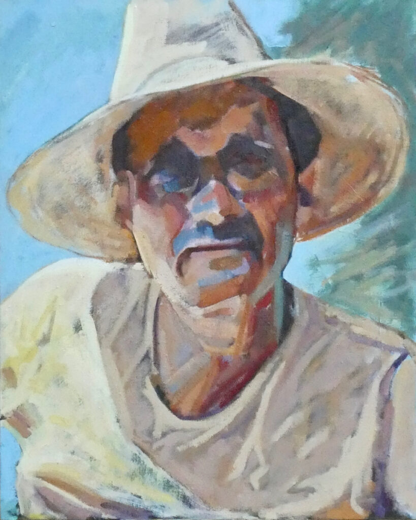 portrait of artist painter, straw hat, sunny, mud head,