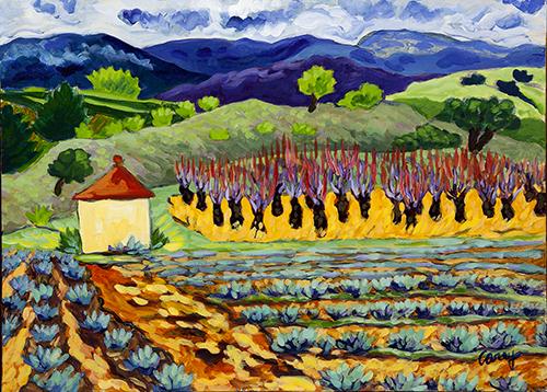 Provence,cherry trees, painting, luberon,pleinair,
