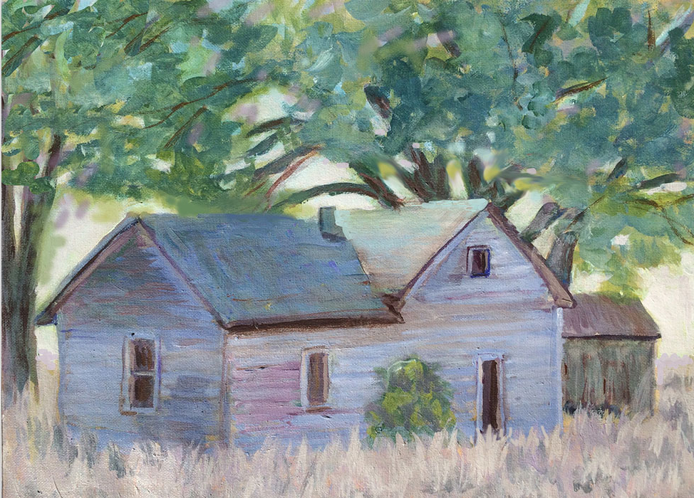 student oil painting,exercise learning to paint,barn