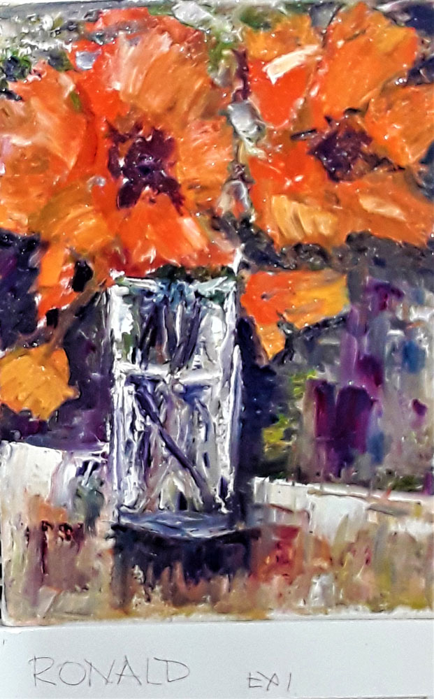 flowers,palette knife,oil painting,student exercise,learn painting