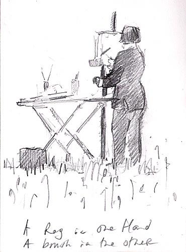 cartoon painter painting en plein-air